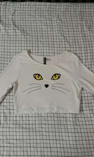 White Cat Face Graphic Crop Top