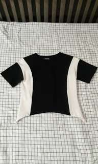 Monochrome Crop Top with Curved Hem