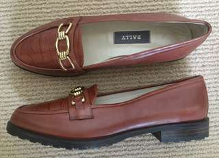 Bally 'Tiffany' Tan Leather Slip-On Loafers Size 6.5C Made In Italy
