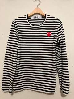CDG PLAY stripe long sleeve t-shirt