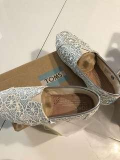 Authentic Classic white glitter crochet toms kid shoes