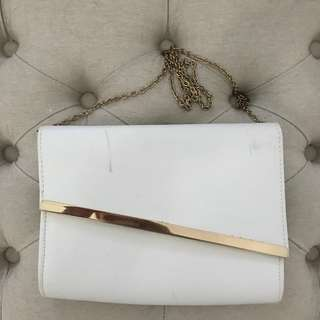 WHITE AND GOLD LARGE CLUTCH
