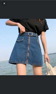 🍃(PO)#34 High Waisted Ring Zip Denim A-Line Skirt