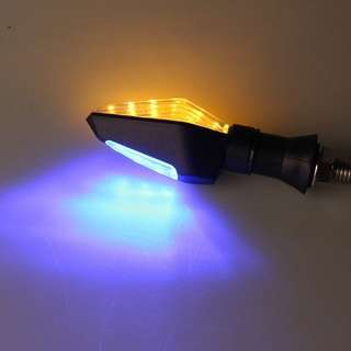 Universal Motorcycle Dual Color Turn Signal LED Indicators (Amber/Blue Light)