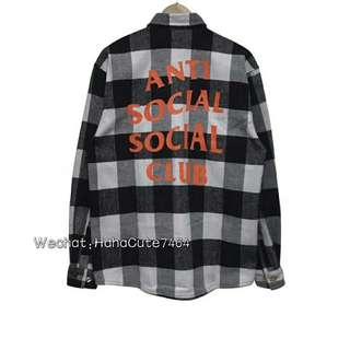 (价格私询)ANTI SOCIAL CLUB灰橙格子衬衫