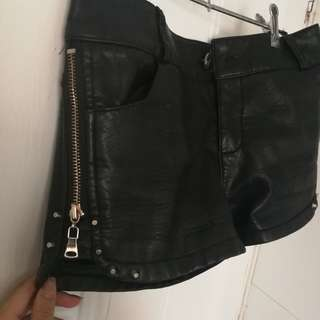 Leather zip side shorts
