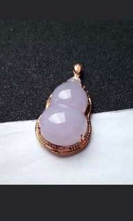 🍍18K Gold - Grade A 水润 Lavender Calabash 發發 葫芦 Jadeite Jade Pendant🍍