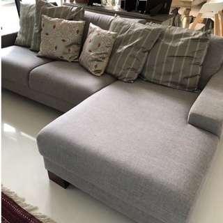 L-Shaped Grey Sofa