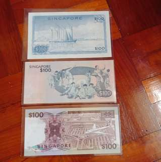 $100 notes from orchid, bird, ship series. Lot of 3pcs.