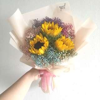 3 sunflower with rainbow baby breath anniversary bouquet