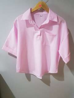 kemeja oversized (pink, grey, white)