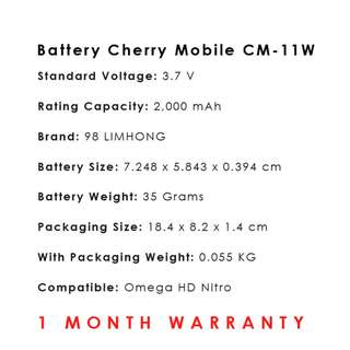 Cherry Mobile Omega HD Nitro Battery CM-11W
