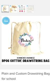 Customized Cotton White or Nylon Multi Colored Drawstring Bag / Handphone Pouch Drawstring Pouch - Party Favor Pouch - Name Print