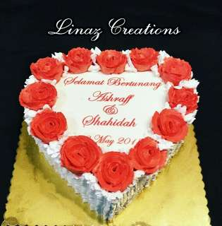 Engagment Cake    Need a CUSTOMISED CAKES?  Contact us at 86069748 (Lina)