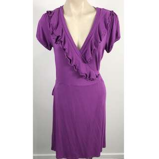 Review Womens Frill Short Sleeve Wrap Tie Dress Viola Size 12 New RRP 159.99