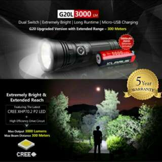 (FREE Delivery) KLARUS G20L 3,000 Lumens Flashlight/Searchlight - 300 Meters Throw & Dual Switch