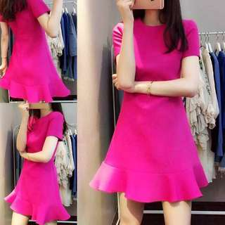 Fuschia Pink and Black Mermaid Hem Short Sleeve Dress XS-4XL