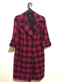BLACK RED BLAZER DRESS