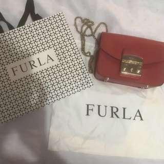 Red Furla Metropolis Crossbody Bag - Authentic