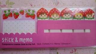 Strawberry Sticky & Memo