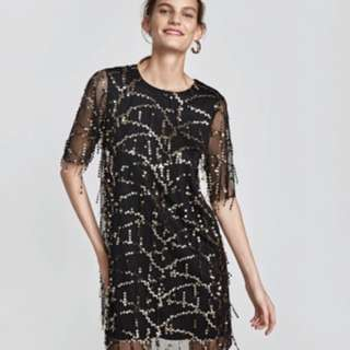 ZARA SEQUINNED DRESS WITH FRINGE