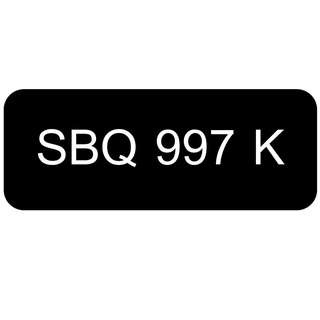 Car Number Plate for Sale: SBQ 997 K