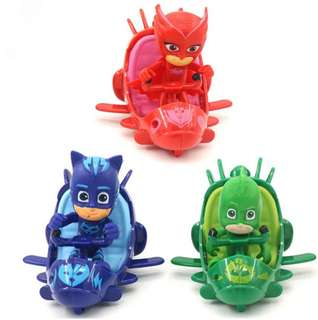 3pcs/set PJ Mask Catboy Owlette Gekko Cloak Slide Car Action Figure Toy