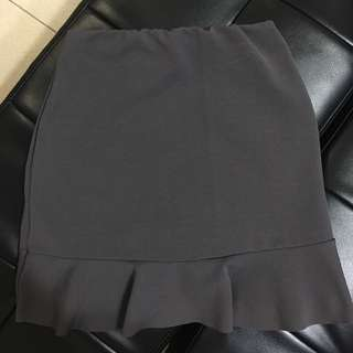 Grey fishtail mini skirt