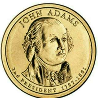 (New) The Presidential $1 Coins- Uncirculated 2007 John Adams Presidential $1 coin (sought after collection)