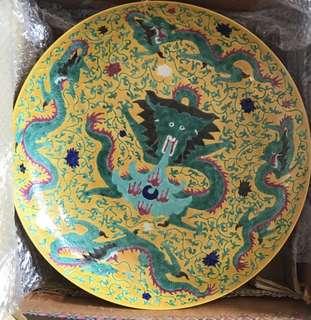 明清五龍彩釉瓷碟