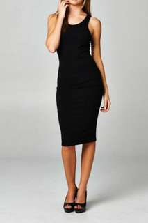 zalora ezra bodycon racerback midi dress in black