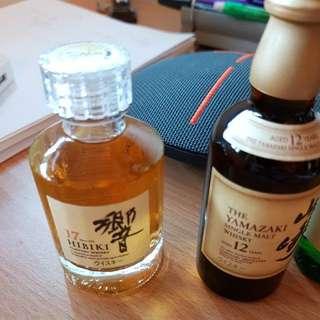 Hibiki 17, Yamazaki 12, Hakashu 12 Whiskies