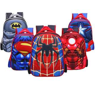 3D Cartoon School Bag Kids Cool Superhero design Bag Backpack Shoulders bag