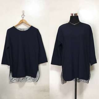 [Preloved] Plus Size Navy Blue Pullover