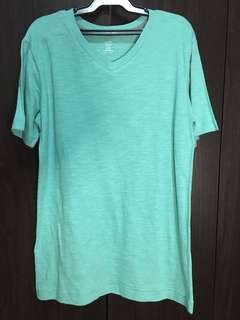 Blue Green V-neck Shirt / Plain Blue T-shirt