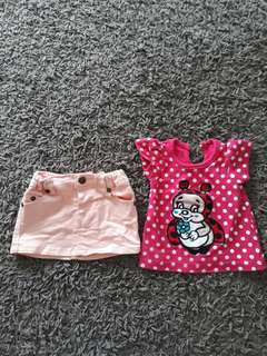 2 pcs skirt and top