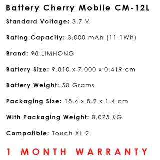 Cherry Mobile Touch XL 2 Battery CM-12L