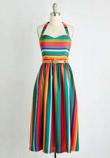 Rainbow halter midi dress