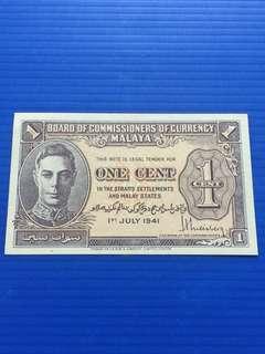 Malaya 1 Cent 1941, UNC
