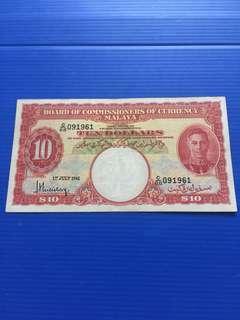 Malaya $10 Year 1941