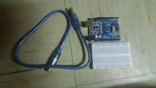 Arduino Uno R3 with Small Breadboard and USB Cable