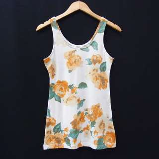 BH305 SIZE M AZUL BY MOUSSY FLORAL TANKTOP UCANSEE SLEEVELESS BAJU
