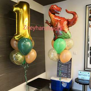 Helium balloon clusters - dinosaur theme/ foil dinosaur balloons