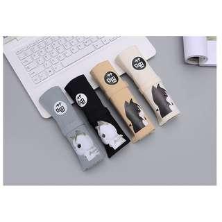 小妮子的家~* 預購 韓國 簡約 小清新 學生 大容量 多功能 筆袋捲 貓咪圖案 帆布材質 可愛必備