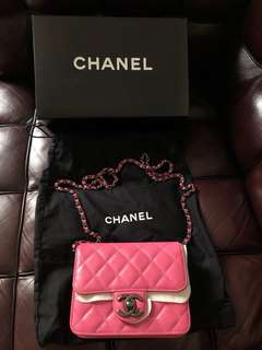 Chanel chain bag pink used 90%new