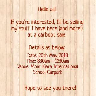 Carboot Sale!