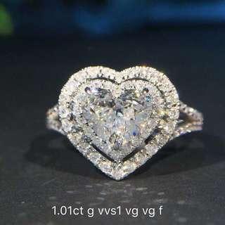 💯GIA 1.01Carat Heart Brilliant Diamond Ring