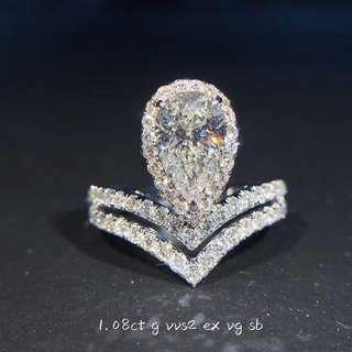 💯GIA VVS2 1.08Carat Diamond Ring