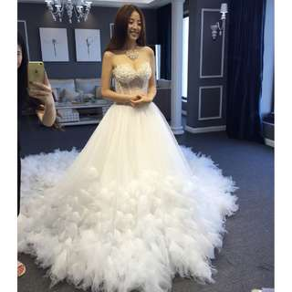Wedding Collection - Flowers Fairy Style Tube Design Long Tail Wedding Gown