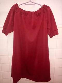 Maroon/Red Off Shoulder Dress